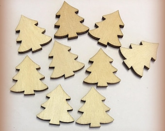 50 or 100 Wood  cut out Christmas tree unfinished slice form shapes laser cut bare wood crafts wood natural 25mm paintable ornament