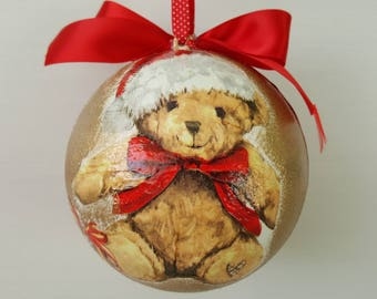 Christmas 12 cm diameter Bauble, Christmas decoration, Lovely Teddy Bear, Christmas gift, gift idea, children's room decoration, Red & Gold