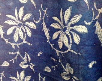 Indigo  Hand Block Printed Curtains TWO PANELS Made to Order