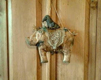 Primitive Pig - Primitive Door Hanger - Prim Door Hanger - Primitive Crow - Hanging Decor - Live Simply - Primitive Decor -Wall Hanger -