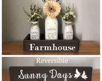 Milk Bottle Decor Dairy Jar Centerpiece Farmhouse Decor Farm Kitchen Decor Rustic Country Table Decor Mason Jar Centerpiece Dairy Bottle