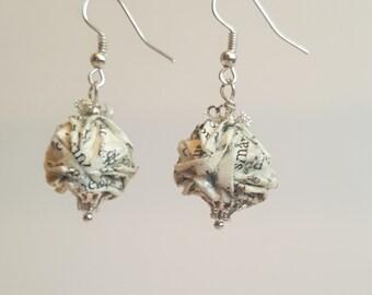 Origami earrings  |  Book Paper earrings  |  Upcycled Origami Earrings