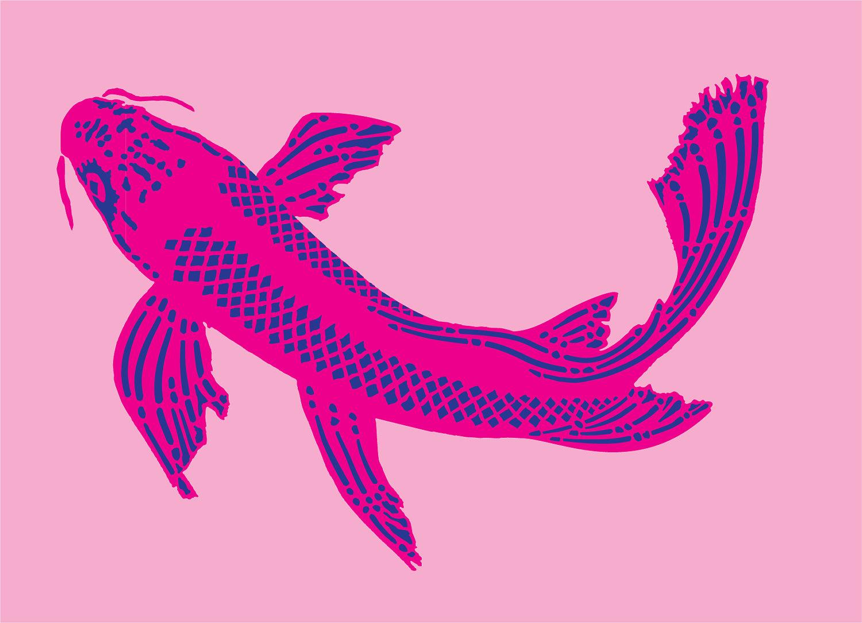 Dos partes Koi plantilla plantilla de pescado revista de