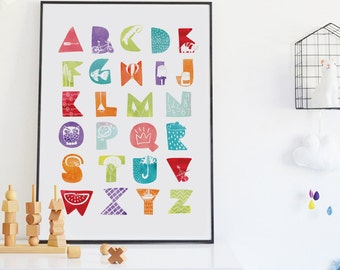 Pastel Alphabet Print, Nursery Alphabet Wall Art, Colorful Nursery Decor, Watercolor Alphabet Poster, Gender Neutral Nursery ABC Playroom Ar