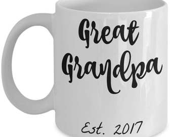 Great Grandpa Gifts - Best Great Grandpa Est. 2017 Coffee Mug - He Just Got Promoted to Great Grandpa! 11 oz Cup - Grandparents Reveal Gift