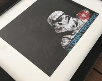 Stormtrooper Inspired Framed Art, Star Wars Inspired Wall Decor, Boys Room Decor, Kids Room Decor, Man Cave Decor, Baby Shower Gift