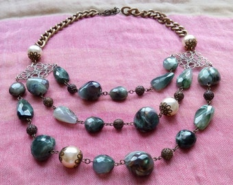 Necklace of beads and synthetic pearls.