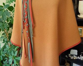 Handmade OOAK Camel Poncho with Oversize Cowl Hood