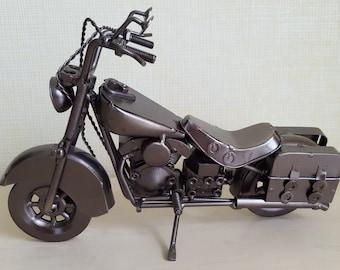 Vintage metal model motorcycle bike