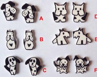 Dog stud earrings black white shrink wrap