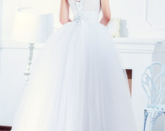 princess wedding dress bohemian sleeveless bridal gown embroidered pearl dress corset wedding gown tulle maxi skirt dress bridal Stella5