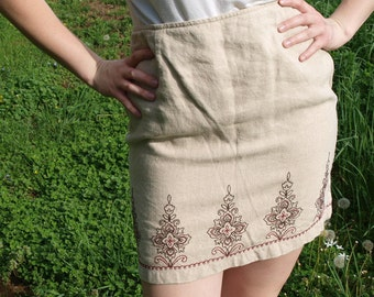 Vintage 90s Ann Taylor Linen Cream Patterned Pencil Skirt