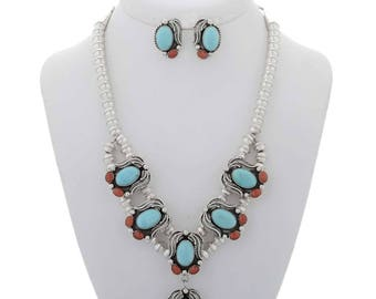 Blue Turquoise Y Necklace Set French Hook Earrings