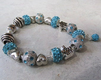 Pandora Snake Chain, Lake Blue Crystal, and Silver European Charm Bracelet #108