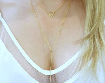 Triangle Necklace / Delicate Necklace /  Open Triangle / Silver, Gold, Rose Gold Triangle