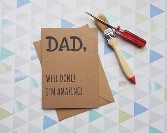 Card for dad, Dad, Father Birthday, Fathers day card, Dad card, Funny fathers day,  Cards for dad, Funny card, Dad birthday