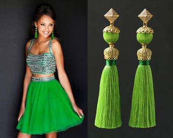 Natural Silk Tassel Earrings with 16K Gold Plated over Brass details with 925 Sterling Silver Post