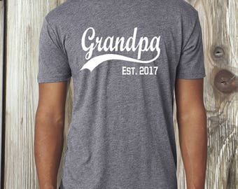 Fathers Day, Fathers Day gift, gift for grandpa, grandpa est shirt, pregnancy announcement, grandpa shirt, baby reveal, grandpa gift