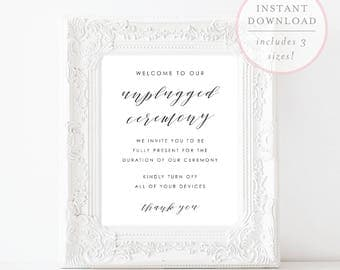 Unplugged Wedding Sign. Unplugged Ceremony Sign. Unplugged Wedding. Unplugged Ceremony. Wedding Unplugged Sign. Unplugged Print.(SH)