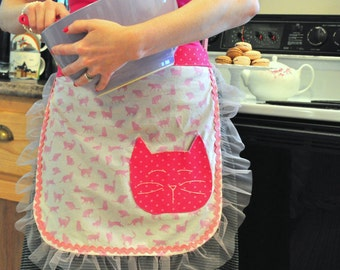 Cat Apron, Apron, Half Apron, Hostess Apron, Retro Apron, Apron, Retro, Cats, Kitty, Pink, Cute, New