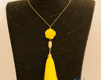 Long necklace, yellow, pink yellow resin, OWL gold plated long tassel