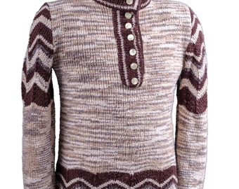 Hand knit pullover sweater Turtle neck with buttons melange stretch jumper Zigzag pattern melange long sleeves pullover