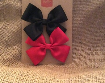 Two 3-inch Hair Bows - 1 Black, 1 Red