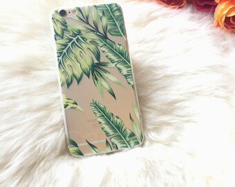 Tropical iPhone 7 Case MILA, Topical Leaf iPhone 6s Case Banana Leaves, iPhone 6 Silicone Case Summer Banana Leaf Case Palm Leaf iPhone Case