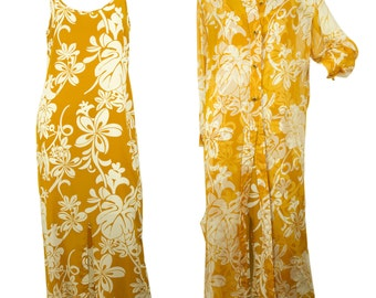 Gianfranco Ferre Ochre White Floral Maxi Dress & Top Shirt Coat set sz 40
