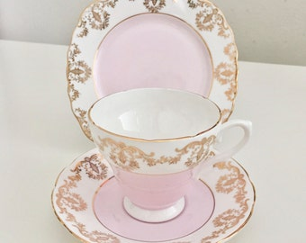 Vintage teaset, fine bone china, Royal Sutherland 1950s