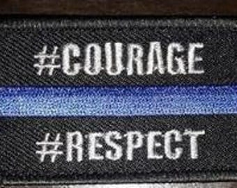 Blue line #courage #respect patch (get free a pin badge-shaped)