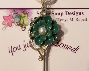 Teal Flower Key Pendant