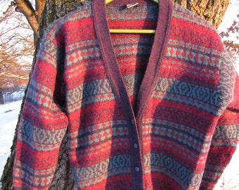 Vintage colourful button up men sweater