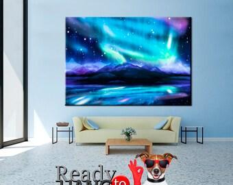 Northern Lights canvas, Aurora Borealis canvas, Northern lights art, Northern lights print, Aurora Borealis art, Aurora Borealis, Canvas Art