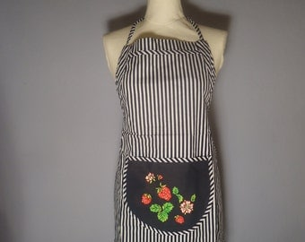 True vintage of 90s apron Orlando striped striped strawberries strawberries pin up housewife