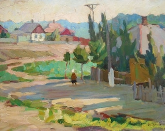 GENRE SCENES VINTAGE Original Oil Painting by a Soviet Ukrainian Artist Bespruzhnaya L. 1980s, Signed, Rural, Soviet Ukrainian Fine Art