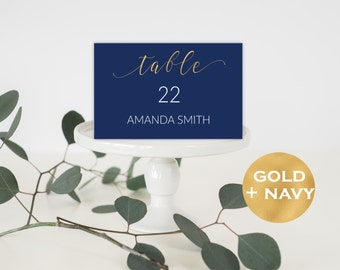 Table Numbers Wedding - Printable Table Numbers - Navy Blue Table Numbers - Wedding Table Numbers - Wedding Downloadable #WDH0162