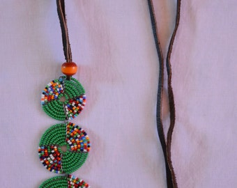 African Maasai Beaded Necklace | African Beaded Necklace | Multi color Necklace | Green Necklace | Gift for Her | One Piece