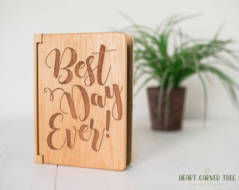Best Day Ever Photo Album, Wood Wedding Photo Album, 4x6 Photos, Wedding Gift, Modern Calligraphy Engraved Gift, Personalized Wedding PA10