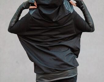 Hooded sweatshirt Black women hoodie Loose oversize tunic Hooded casual tunic Sleeved oversize top Women street wear Black hoodie Loose tops