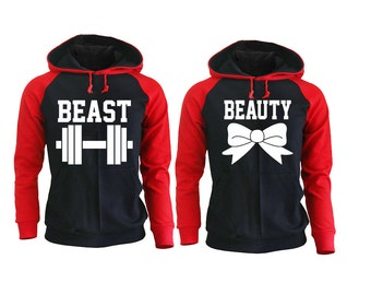 Beast and Beauty Raglan Hoodies for Couples, Fitness Apparels, Couple Sweaters Matching Gym Clothes Pärchen Pullover King Queen Couple Gift