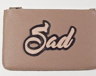 Wallet, card holder, real leather black/pink, SAD, portfolio, handmade, woman, man, gifts