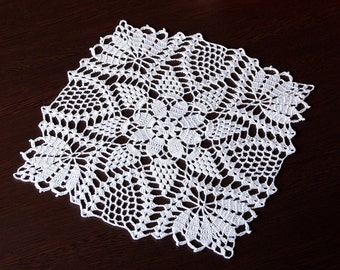 White Crochet Doily Kitchen Decor Dinning Decor Home Decor Shabby Chic Lace Doily Table Topper Table Decoration Knit Table Decor Square Doil