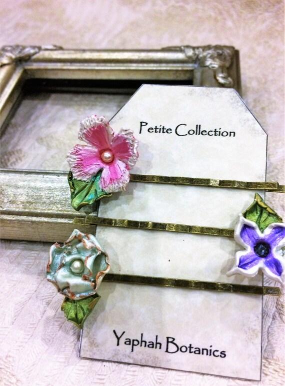 Flower Bobby Pin Set, Botanical Hairpins