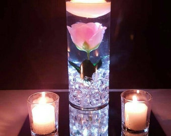 Wedding Centerpiece, Floating Candle Centerpiece with Pink Roses and LED lights, Pink Decor, Baby Shower, Blush Rose, Bridal Shower Decor