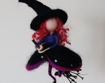 Waldorf inspired needle felted Halloween witch mobile