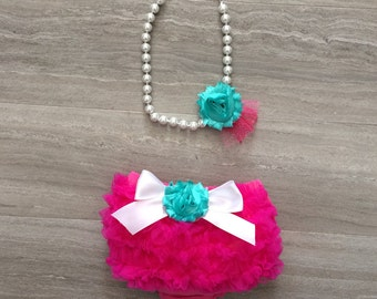 Ruffle Bloomers with matching pearl necklace