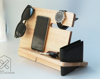Universal Phone Tablet Wooden Docking, Wood Stand, Tech Organizer, Gift for Dad, Gift for Him, Christmas Gift for Men