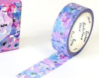Blue/Purple Flowers Japanese Washi Tape Deco Tape - 15mm X 7 metres
