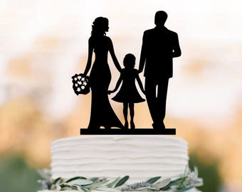 funny Wedding Cake topper with girl, bride and groom silhouette wedding cake toppers, family wedding cake toppers with child